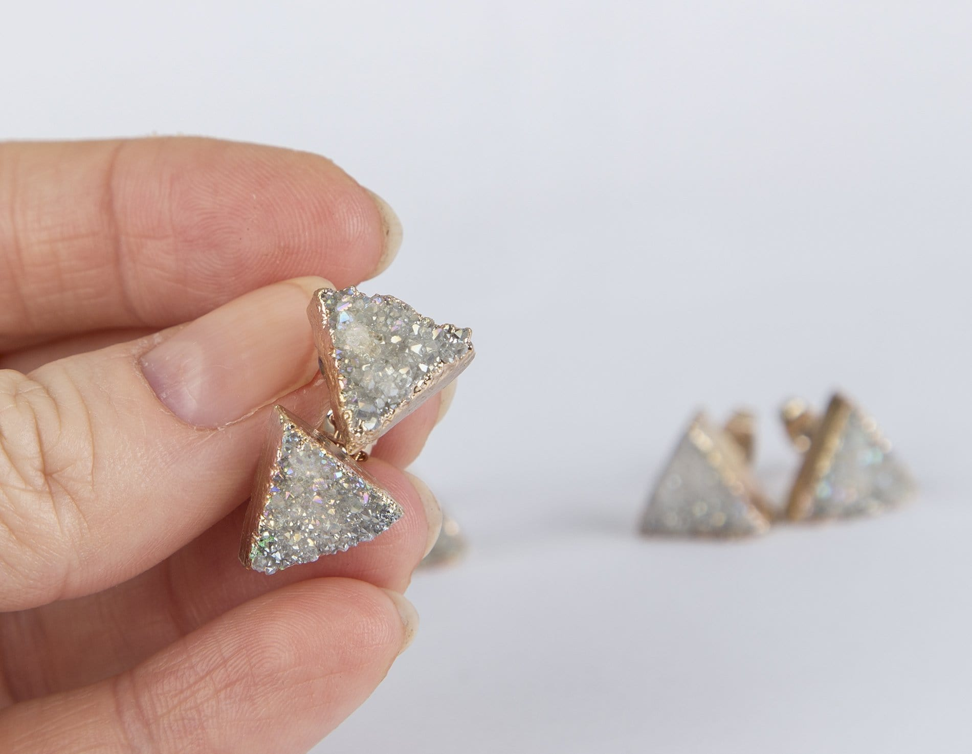 White Triangular Druzy Earrings - SteelJoy!