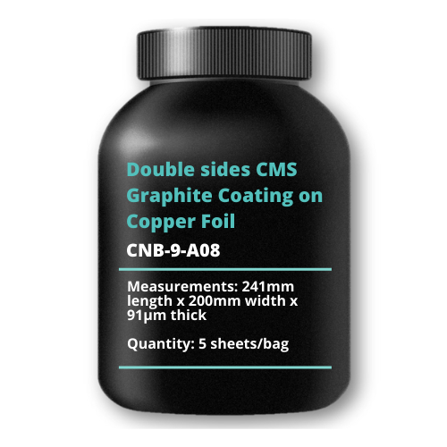 Double sides CMS Graphite Coating on Copper Foil, 241mm length x 200mm width x 91μm thick, 5 sheets/bag