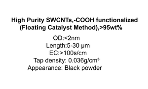High Purity SWCNTs,-COOH functionalized (Floating Catalyst Method),>95wt%