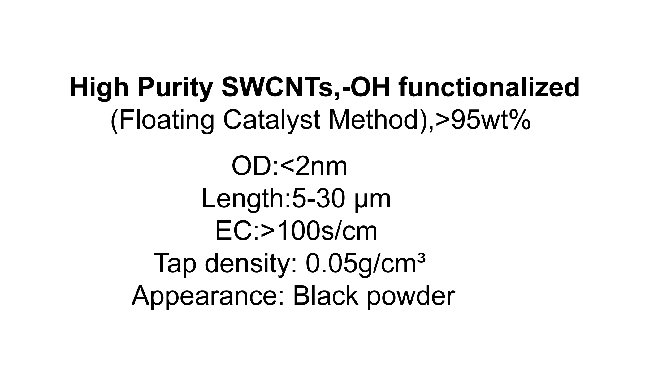 High Purity SWCNTs,-OH functionalized (Floating Catalyst Method),>95wt%