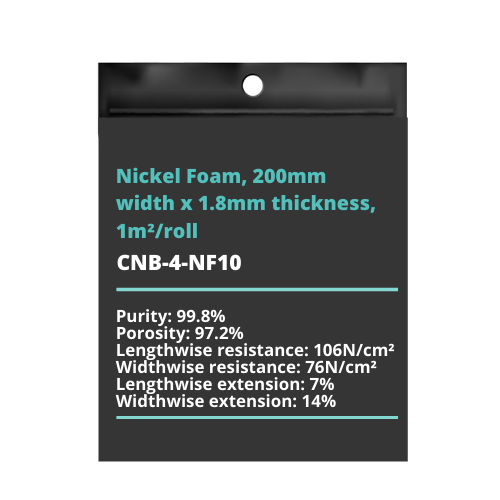 Nickel Foam, 200mm width x 1.8mm thickness, 1m²/roll