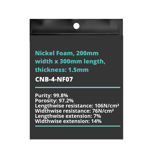 Nickel Foam, 200mm width x 300mm length, thickness: 1.5mm