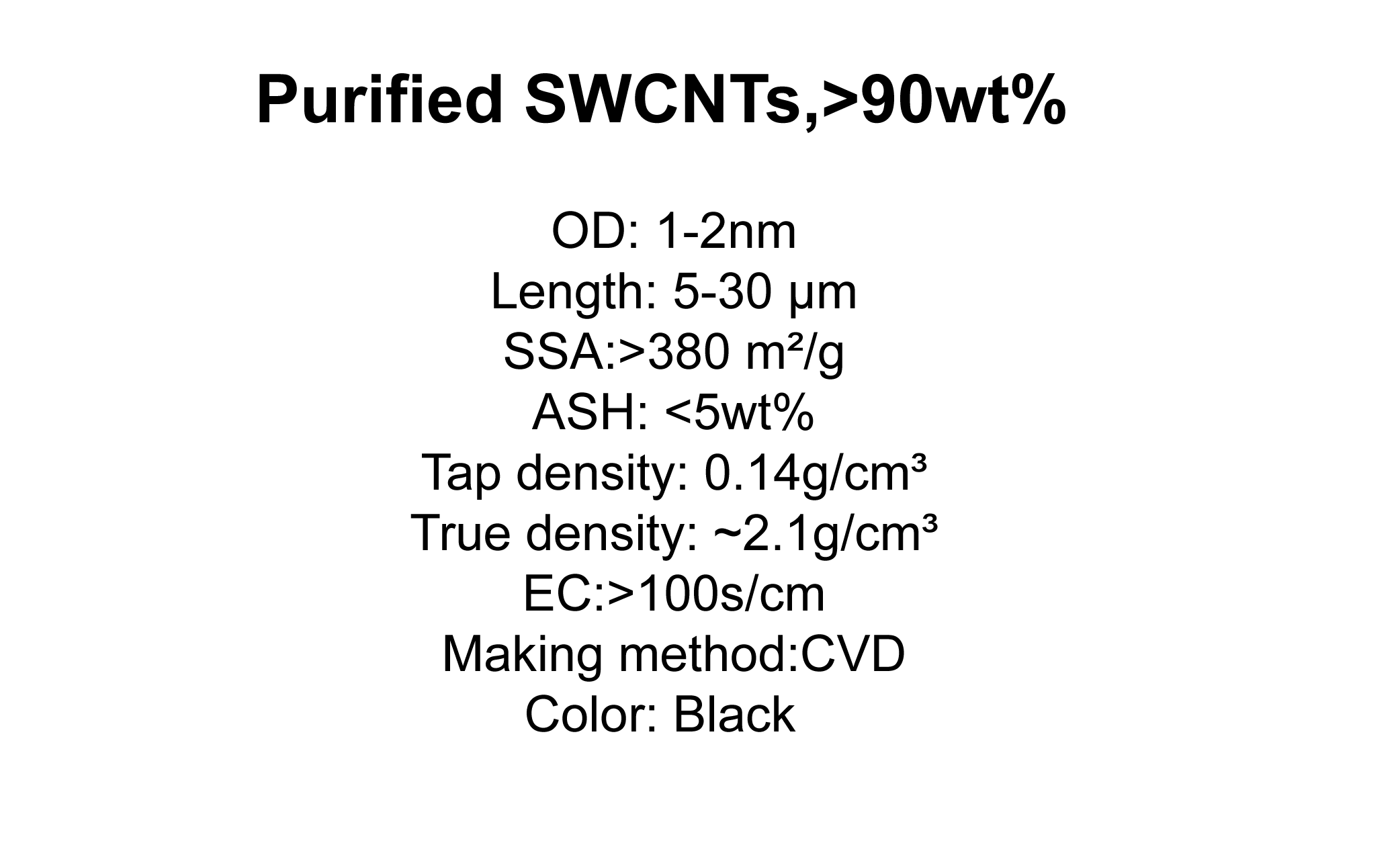 Purified SWCNTs,>90wt%