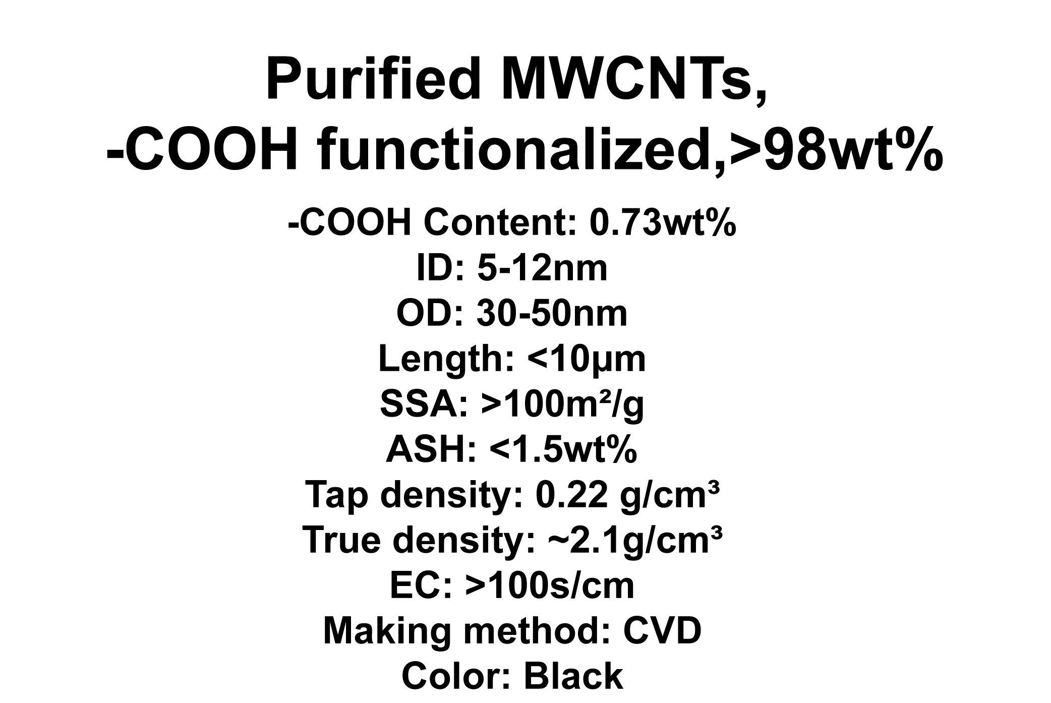 Purified MWCNTs, -COOH functionalized (TNMC7)
