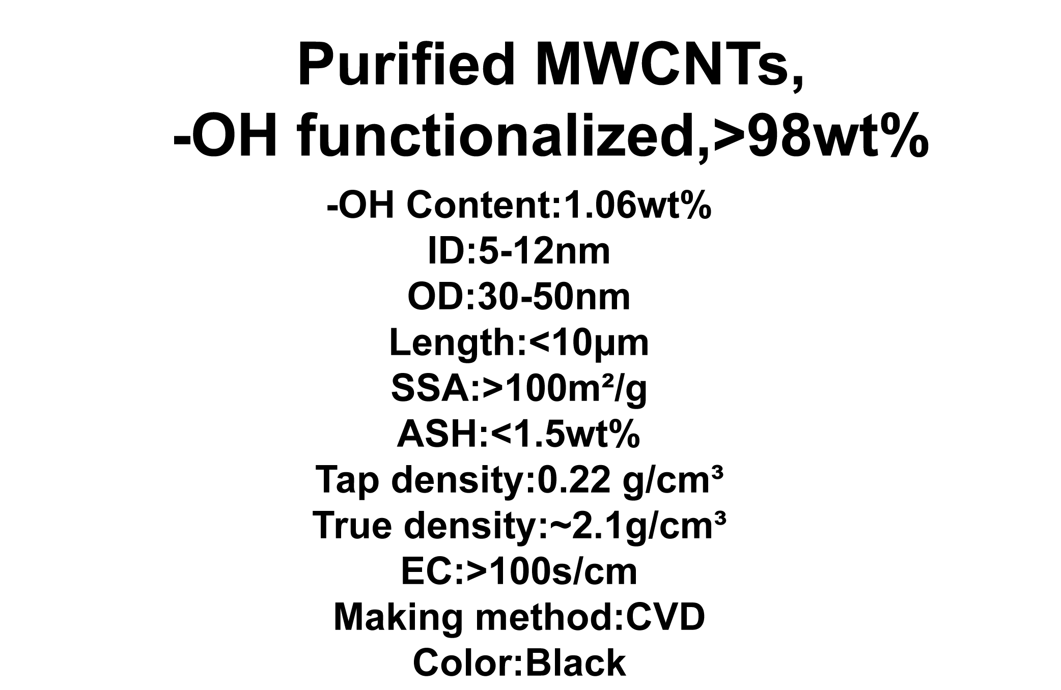 Purified MWCNTs, -OH functionalized (TNMH7)