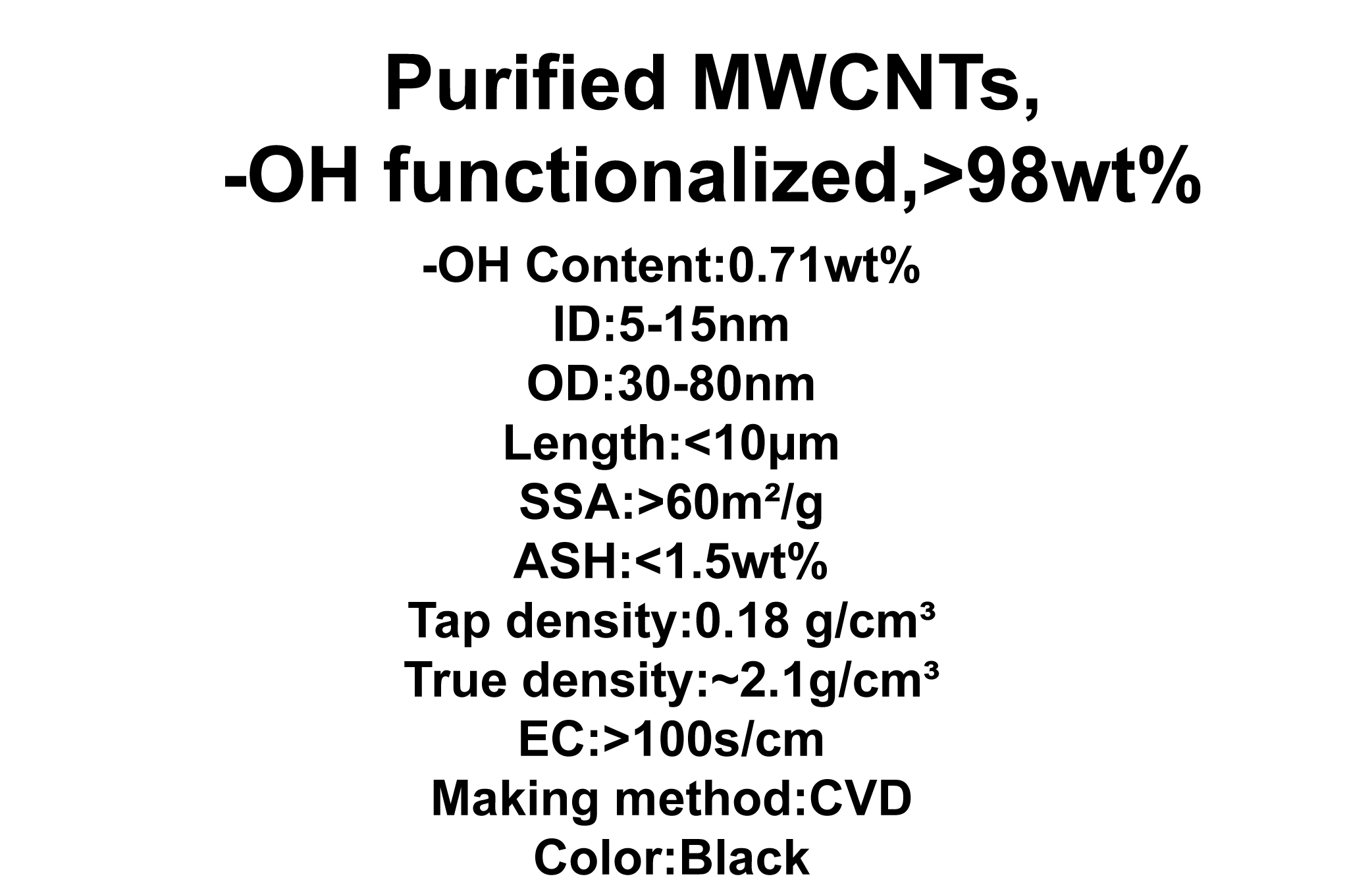 Purified MWCNTs, -OH functionalized (TNMH8)