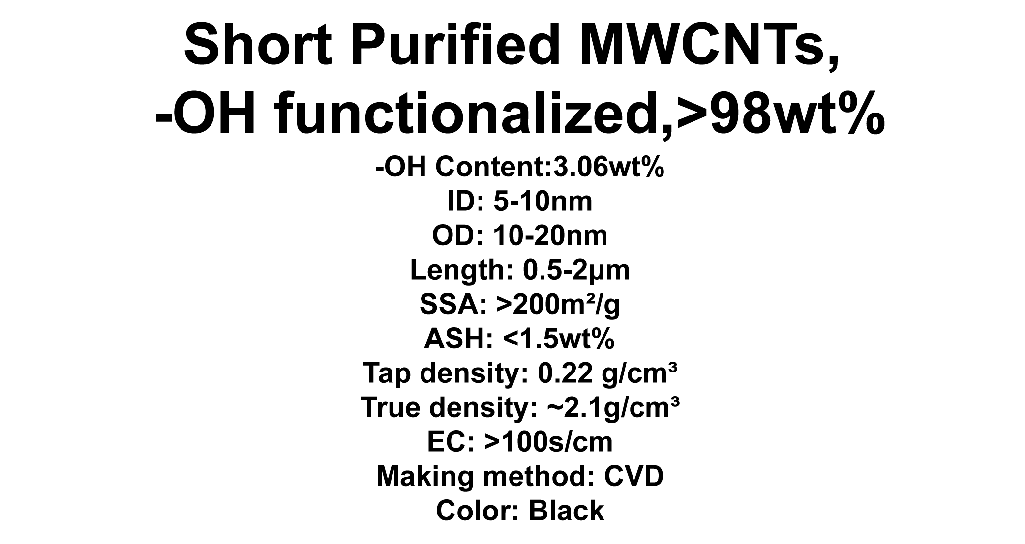 Short Purified MWCNTs, -OH functionalized (TNSMH3)