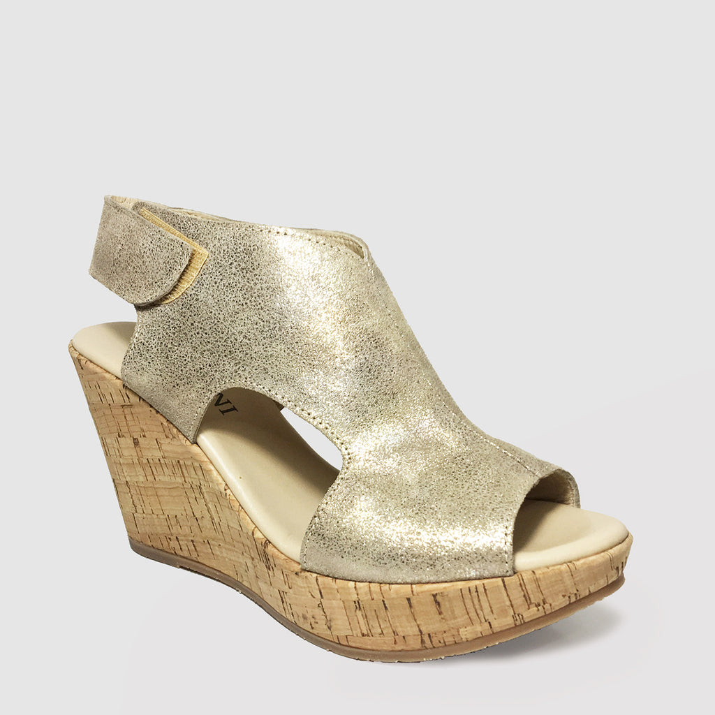 Cordani Reed in Gold Metallic Suede