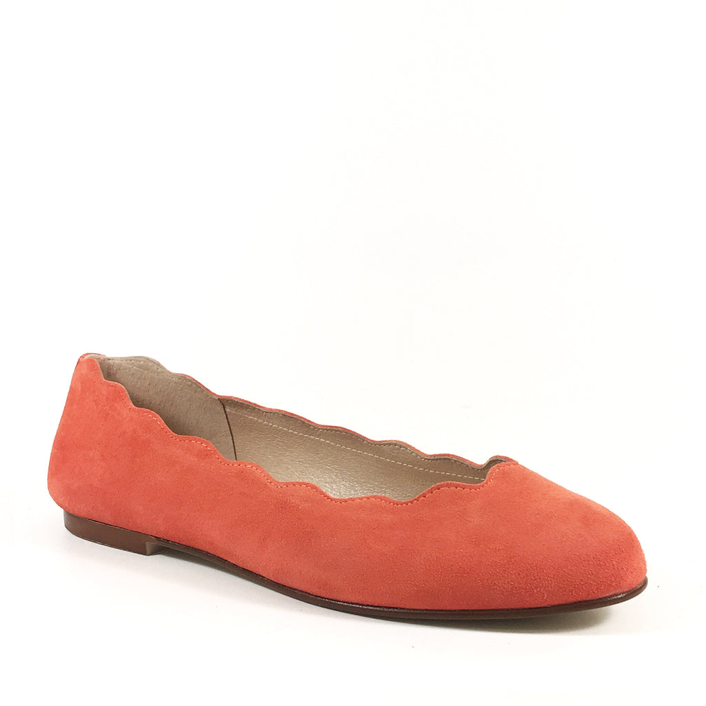 French Sole New York Jigsaw Tangerine Suede Scallop Ballet Flat
