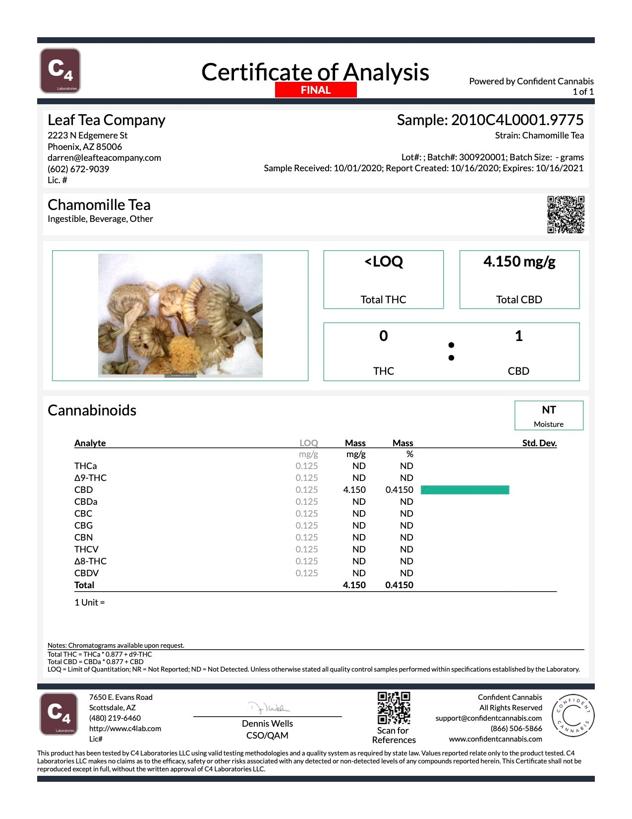 Chamomile CBD Tea Batch 300920001 - COA - Test Results | Leaf Tea Company