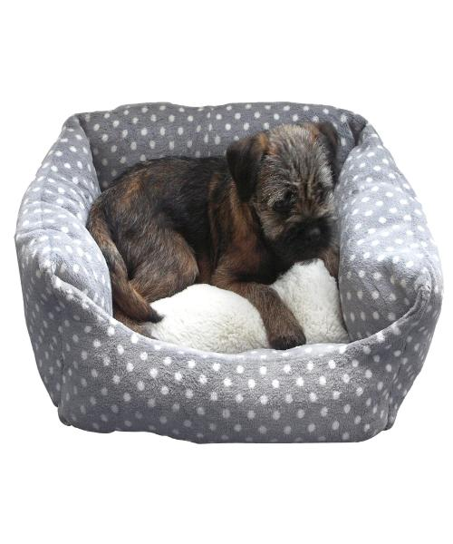 Rosewood Grey Cream Spot Bed - Pet Mall