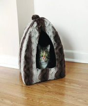 Rosewood Grey Cream Snuggle Plush Pyramid Cat Bed - Pet Mall