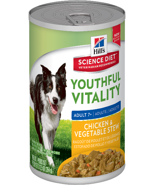 Hill's® Science Diet® Adult 7+ Youthful Vitality Chicken & Vegetable Canned Adult Dog Food 345g x 12 - Pet Mall