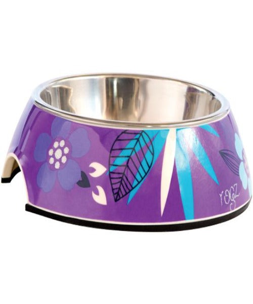 Rogz 2-in-1 Bubble Purple Forest Design Dog Bowl - Pet Mall