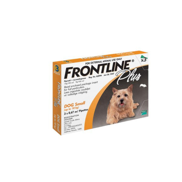 FRONTLINE PLUS TICK & FLEA CONTROL FOR DOG 0-10KGs - 3'S - Pet Mall