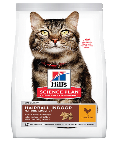 Hill's™ Science Plan™ Mature Adult 7+ Hairball Indoor Chicken Cat Food 2,5 KG - Pet Mall