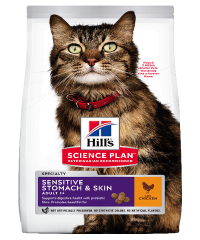 Hill's™ Science Plan™ Feline Adult Sensitive Stomach & Skin Chicken Cat Food - Pet Mall