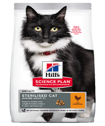 Hill's™ Science Plan™ Mature Adult 7+ Sterilised Chicken Cat Food 3 KG - Pet Mall