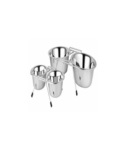 Fixed Double Diner Stand Stainless Steel Double Pet Bowl Set - Pet Mall
