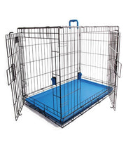 M-PETS Voyager Blue Wire Dog Crate - Pet Mall
