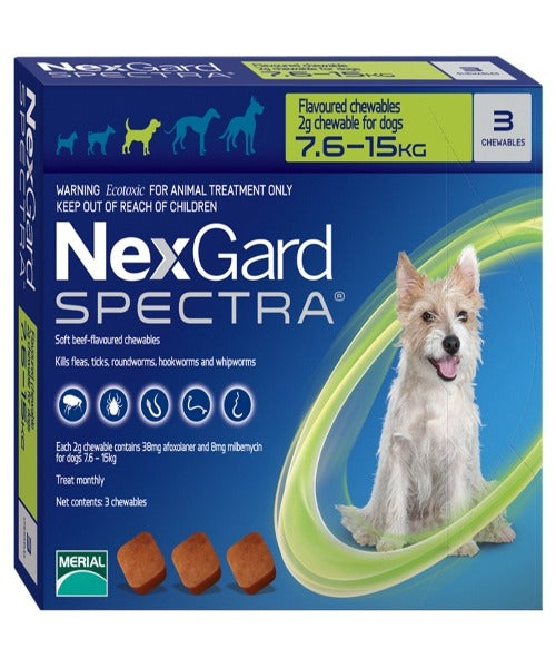 NEXGARD SPECTRA MEDIUM 7.5-15KG (2G) - Pet Mall