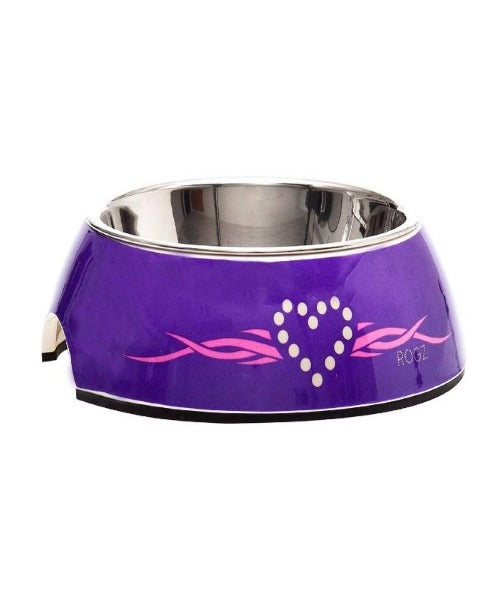 Rogz 2-in-1 Bubble Purple Chrome Design Dog Bowl - Pet Mall