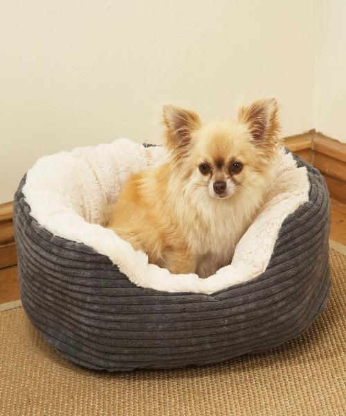 Rosewood Grey Jumbo Cord / Plush Oval Bed - Pet Mall