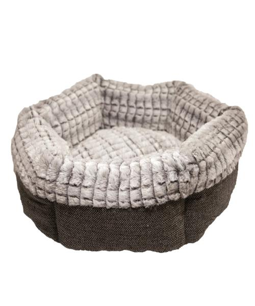 Rosewood Tweed & Plush Round Pet Bed - Pet Mall