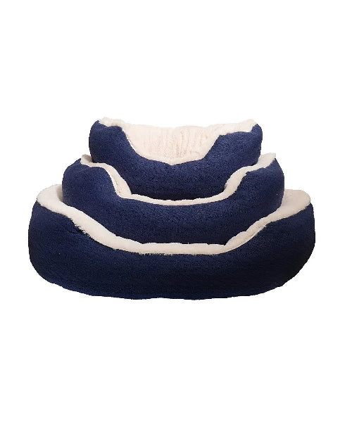 Rosewood Navy Cable Knit Oval Bed - Pet Mall