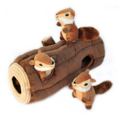 Zippy Burrow Log with 3 Chipmunks  - Pet Mall