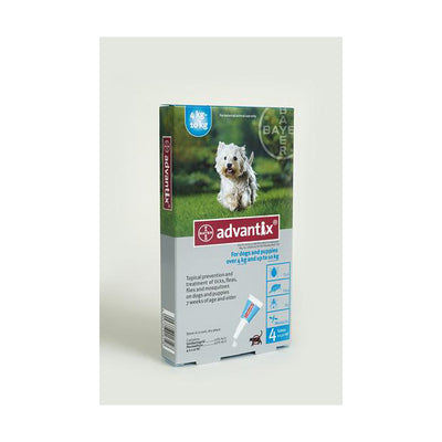 ADVANTIX MEDIUM DOG 4-10 KG (4X1.0ML) TURQ TREATMENT OF FLEAS FOR DOGS , TICKS AND MOSQUITOES - Pet Mall