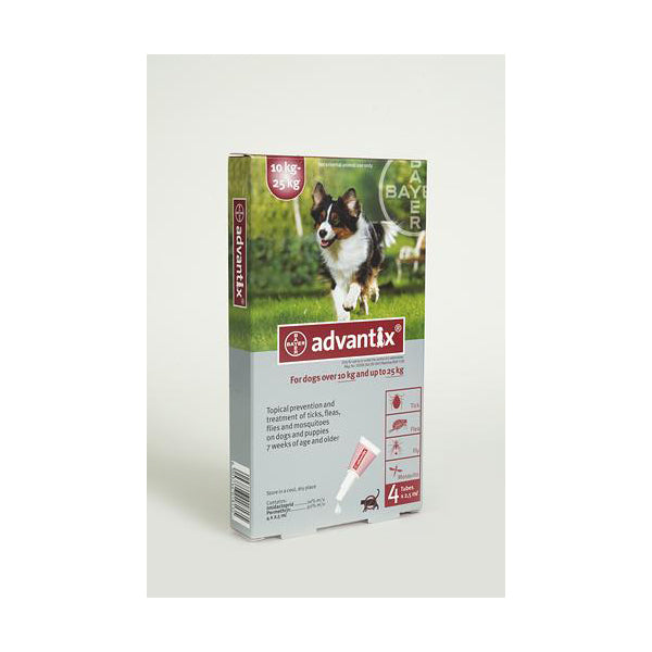 ADVANTIX LARGE DOG 10-25 KG (4X2.5ML) RED TREATMENT OF FLEAS FOR DOGS , TICKS AND MOSQUITOES - Pet Mall