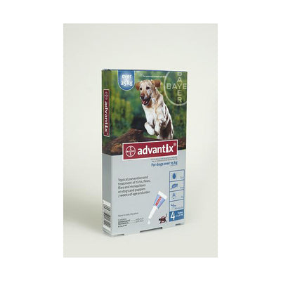 ADVANTIX XLRG DOG 25 KG+ (4X4.0ML) BLUE TREATMENT OF FLEAS FOR DOGS , TICKS AND MOSQUITOES - Pet Mall