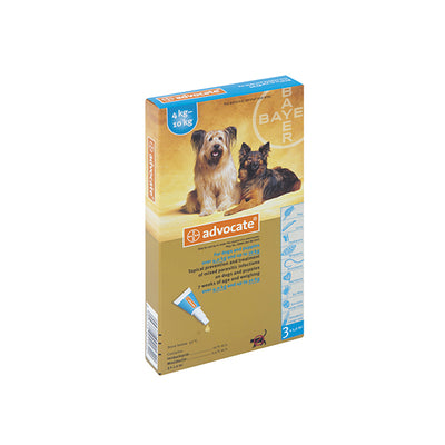 ADVOCATE MEDIUM DOG (3X1.0ML) 4-10KG TREATMENT OF MIXED PARASITIC INFECTIONS ON DOGS - Pet Mall