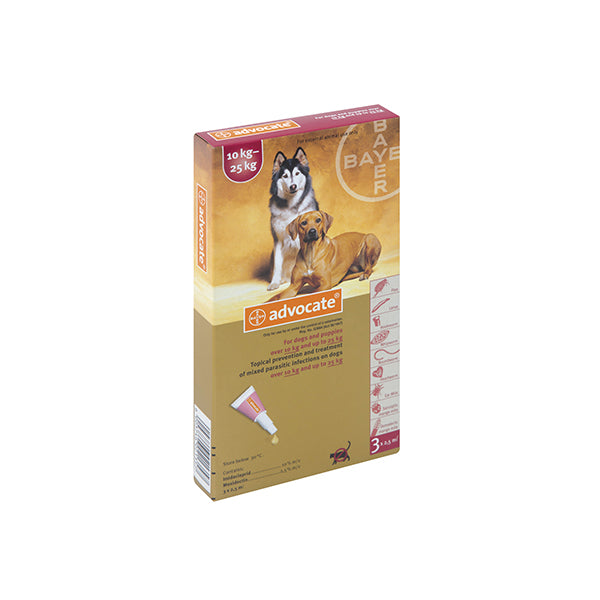 ADVOCATE LARGE DOG (3X2.5ML) 10-25KG TREATMENT OF MIXED PARASITIC INFECTIONS ON DOGS - Pet Mall