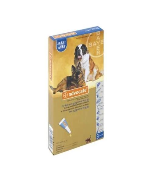 ADVOCATE XLARGE DOG (3X4.0ML) 25-40KG TREATMENT OF MIXED PARASITIC INFECTIONS ON DOGS - Pet Mall