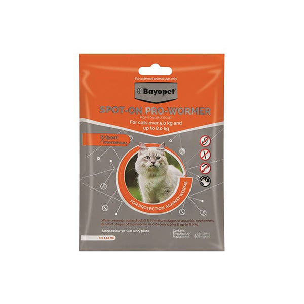 BAYOPET SPOT-ON PRO-WORMER 5-8KG |(1X1.12ML) - Pet Mall