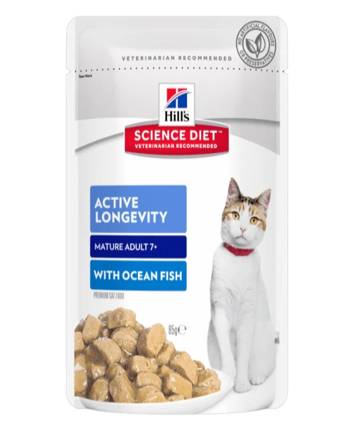 Hill's™ Science Diet™ Cat Mature Adult Active Longevity™ Chicken and Ocean Fish wet pouch - Pet Mall