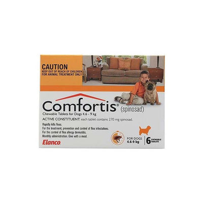 ELANCO COMFORTIS TABLETS 4.6-9KG 6'S (ORANGE) RAPIDLY KILLS FLEAS - Pet Mall