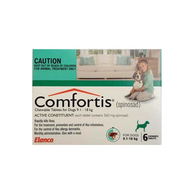 ELANCO COMFORTIS TABLETS 9.1-18KG 6'S (GREEN) RAPIDLY KILLS FLEAS - Pet Mall