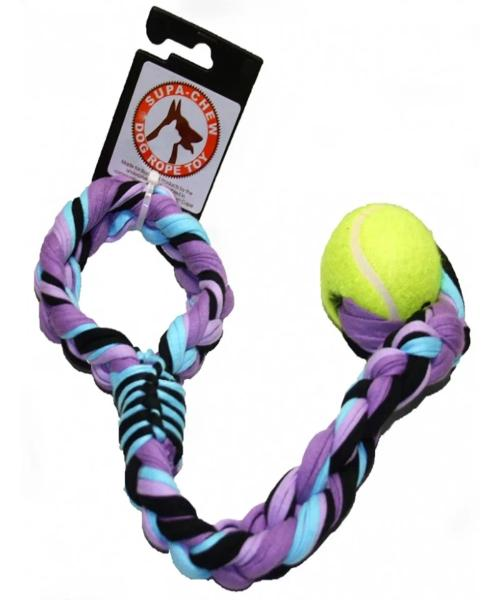 Supa-Chew Cotton Sling Rope Dog Toy with 1 Ball - Pet Mall