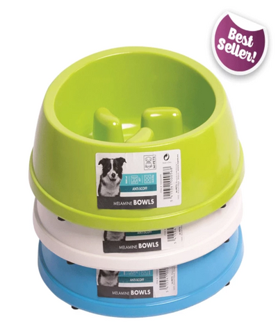 M-PETS Anti-Scoff Slow Feed  Dog Bowl - Pet Mall