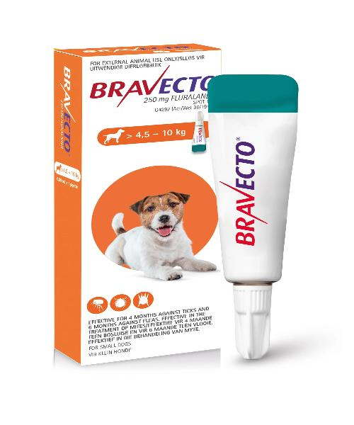 Bravecto Spot On Tick & Flea Treatment for Small Dogs (>4.5-10KG) 250MG - Pet Mall