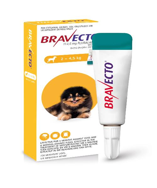 Bravecto Spot On Tick & Flea Treatment for Toy Dogs (2-4.5KG) 112.5MG - Pet Mall