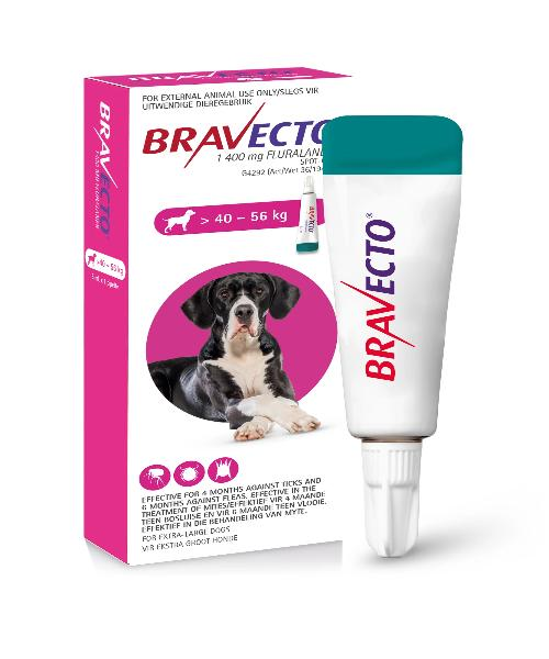 Bravecto Spot On Tick & Flea Treatment for X- Large  Dogs (>40-56KG) 1400MG - Pet Mall
