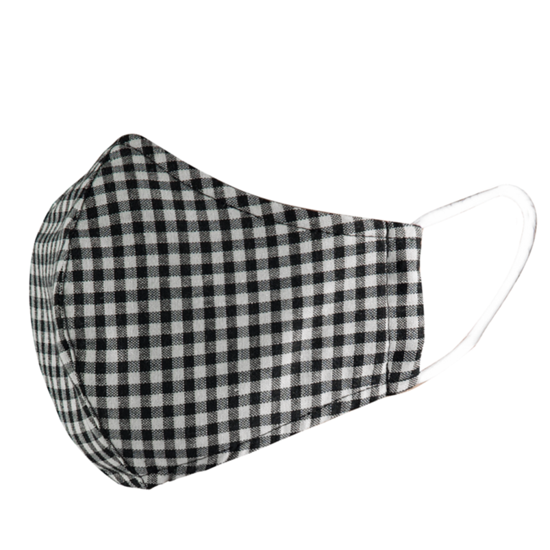 Double Layer Washable Re-Usable Cotton Face Mask - Black & White Gingham