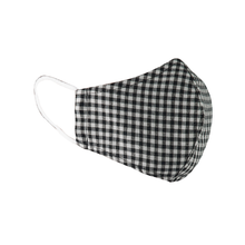 Load image into Gallery viewer, Double Layer Washable Re-Usable Cotton Face Mask - Black & White Gingham