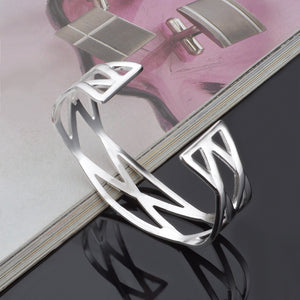 Classic Stainless Steel Cuff Bangle Bracelet, Fashion Bangle for Women