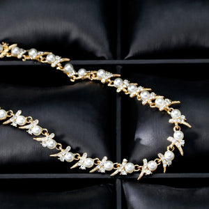 Pearl and Clear Crystal Diamante Necklace and Earrings Set Golden Tone