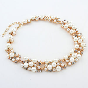 Chunky Pearl and Crystal Diamante Necklace and Earrings Set